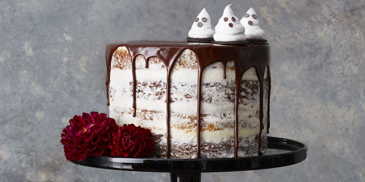 """<p>You should be afraid — very afraid — of these creepy Halloween cakes. They're scary delicious! Pumpkin chocolate layer cake makes the perfect centerpiece for <a href=""""https://www.goodhousekeeping.com/holidays/halloween-ideas/g565/halloween-party-ideas/"""">Halloween parties</a>, while a devilishly delicious Halloween bundt cake is a great way to fuel-up for trick-or-treating. Haunted house cakes and graveyard cakes are fun to make with kids, and you can decorate your own with spooky shapes, leftover Halloween candy, red food coloring, chocolate sprinkles and other edible decorations. With some of these <a href=""""https://www.goodhousekeeping.com/holidays/halloween-ideas/g244/halloween-desserts/"""">Halloween desserts</a>, you'll even have a few more party guests at your house like mummies, ghosts, witches and — worst of all — spiders. Whatever recipe you decide to try, don't skimp on the frosting or sprinkles because October 31 is the one day a year when sugar is basically it's own food group (parents, we're sorry!).</p><p>But don't stop here: Finish off your Halloween dessert table with these festive <a href=""""https://www.goodhousekeeping.com/holidays/halloween-ideas/g2711/halloween-cupcakes/"""">Halloween cupcake ideas</a> and <a href=""""https://www.goodhousekeeping.com/holidays/halloween-ideas/g3676/easy-halloween-cookie-recipes/"""">Halloween cookie recipes</a>. Throw on a <a href=""""https://www.goodhousekeeping.com/holidays/halloween-ideas/g23570139/halloween-movies-netflix/"""">Halloween Netflix movie</a> to really get in the spirit, then wash your treats down with a glass (or two) of these frightfully simple <a href=""""https://www.goodhousekeeping.com/holidays/halloween-ideas/g3718/best-halloween-cocktails/"""">Halloween cocktails</a>.<br></p>"""