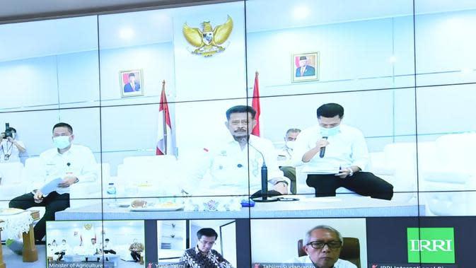 Menteri Pertanian, Syahrul Yasin Limpo (Mentan SYL), melakukan konferensi secara virtual membahas upaya penguatan kerja sama negara Indonesia dengan International Rice Research Institute (IRRI).