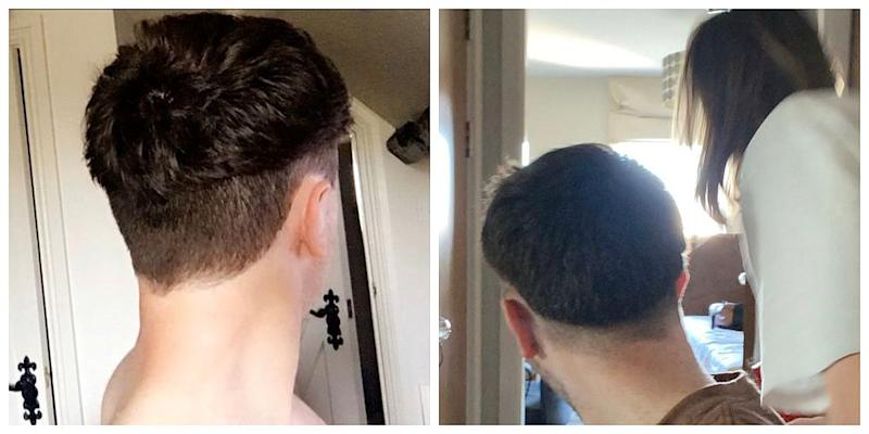 Expectation vs reality: What Twitter user @chirojake wanted and what he got after his girlfriend gave him a haircut. — Pictures from Twitter/@chirojake