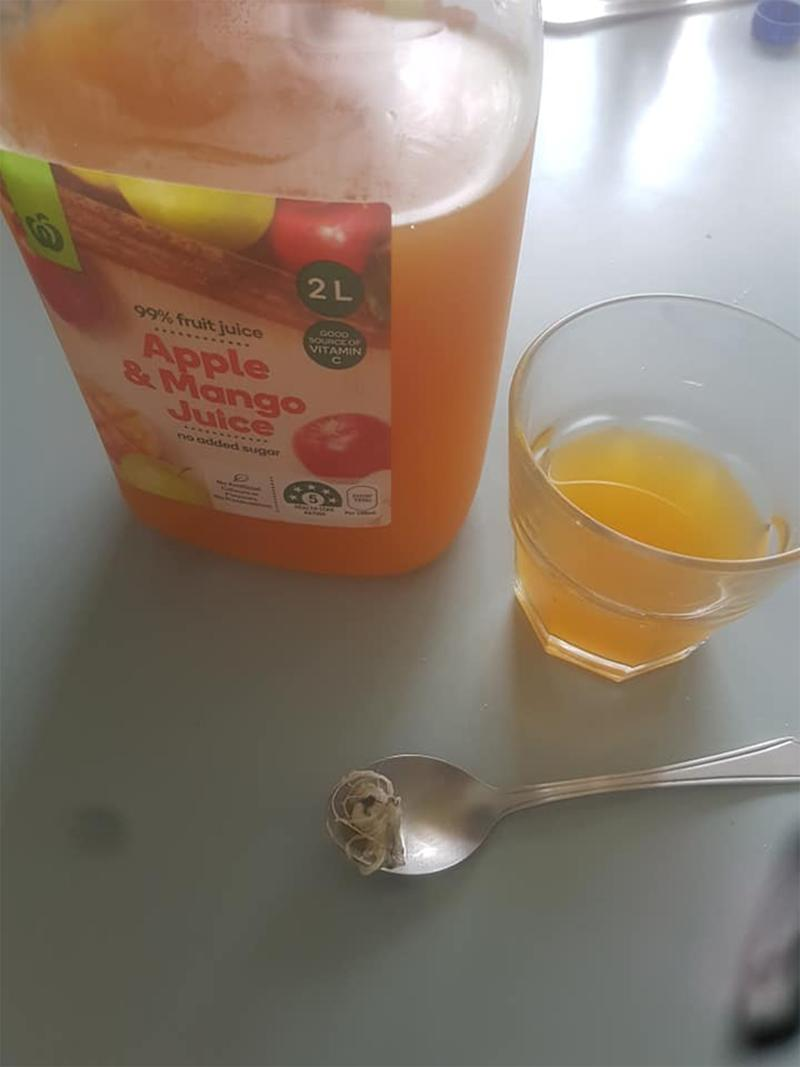 Food contamination: Cami Cole posted an image of the strange object next to the juice bottle.