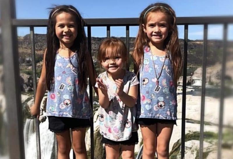 Mr Lurak's three daughters pictured just days before the crash.