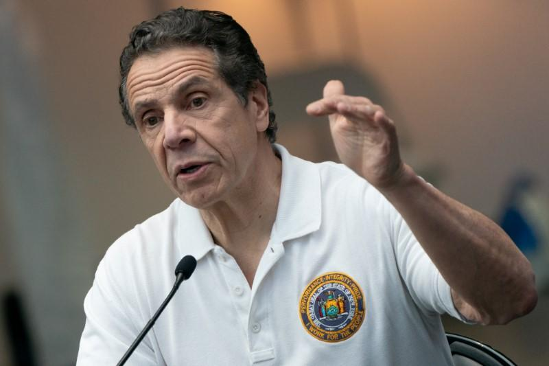 New York Governor Andrew Cuomo speaks during a news conference at the Javits Center in New York