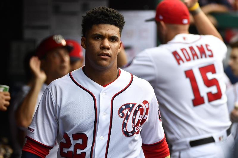 Juan Soto has Nats fans not missing Bryce Harper. (Brad Mills-USA TODAY Sports)