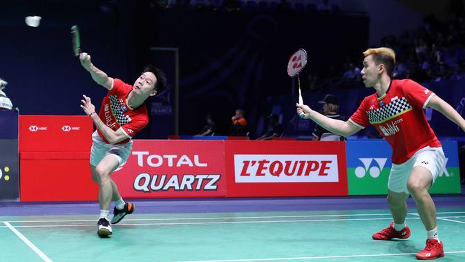 Kevin Sanjaya/Marcus Gideon beraksi di French Open 2019. (PBSI)