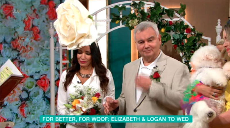 Host Eamonn Holmes walked Elizabeth and her fascinator down the aisle. Photo: Itv
