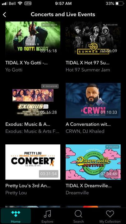 what is tidal ios events