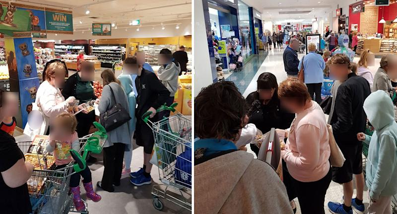 Chaotic scenes shown at a Woolworths Ooshie swap event on Saturday.