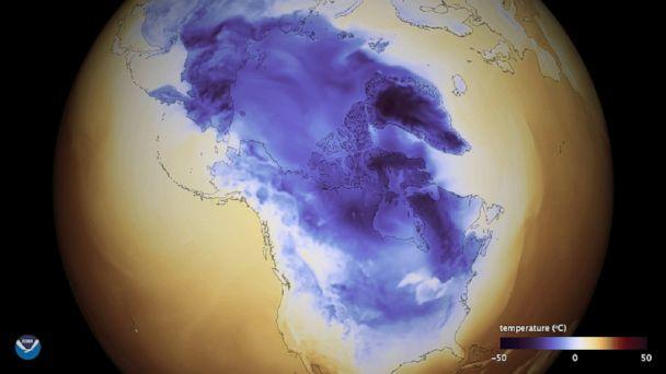 PHOTO: A handout image made available on Jan. 2, 2018 shows the Arctic cold that extends through Canada into the United States. (NOAA via EPA)