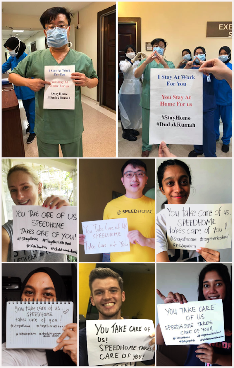 Speedhome showed photographs of individuals holding posters bearing the slogan 'You take care of us, Speedhome takes care of you'. — Picture courtesy of Speedhome