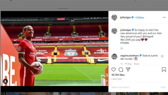 Julia Vigas mengunggah foto suaminya, Thiago Alcantara yang baru bergabung dengan Liverpool (Instagram @Juliavigas)