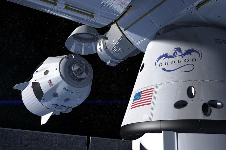 artist's concept of a SpaceX Crew Dragon docking with the International Space Station