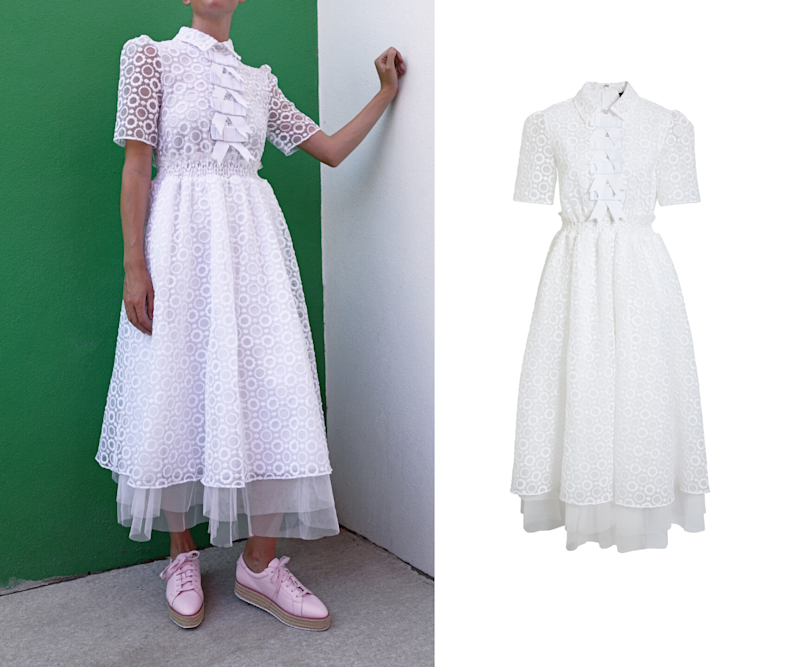 Sheer Floral Bow Midi Dress. Images via Nordstrom.