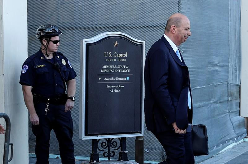 U.S. Ambassador to the European Union Sondland departs after House impeachment inquiry deposition at the U.S. Capitol in Washington