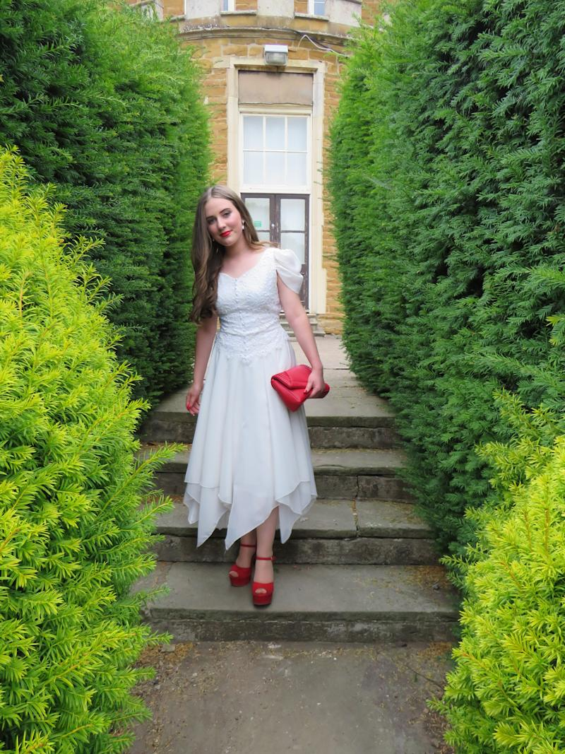 Grace breathed new life into her mum's wedding dress for her prom. Photo: Caters