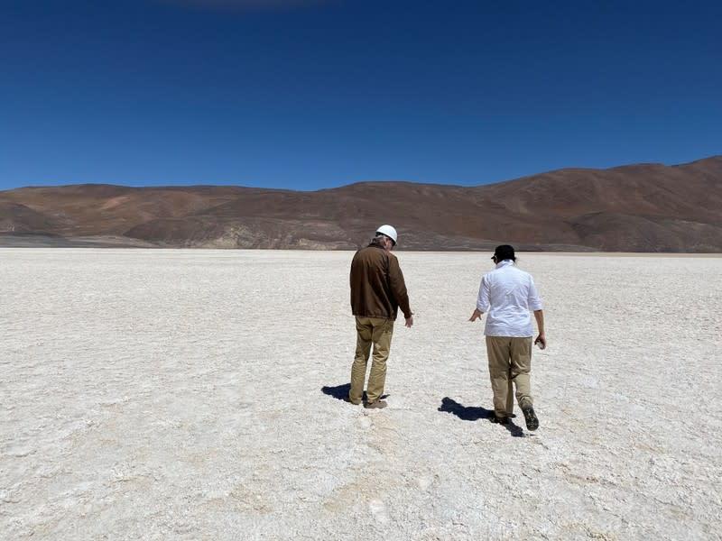 Chile's Minister of Mining Baldo Prokurica walks on Infieles Salt Flat in the Atacama Desert