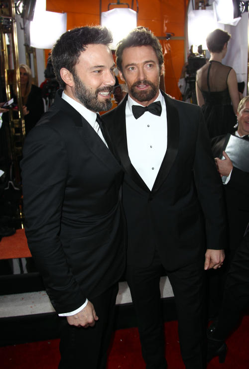 Director Ben Affleck, left, and actor Hugh Jackman arrive at the 19th Annual Screen Actors Guild Awards at the Shrine Auditorium in Los Angeles on Sunday, Jan. 27, 2013. (Photo by Matt Sayles/Invision/AP)