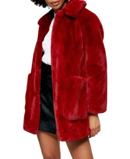 Topshop Eddie Faux Fur Coat. (Image via Nordstrom)