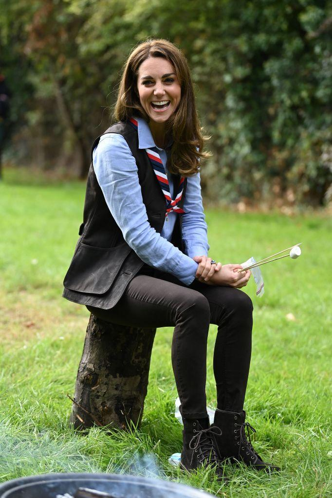 The Duchess of Cambridge wearing her trusty See by Chloe suede ankle boots. (Photo by DANIEL LEAL-OLIVAS / various sources / AFP) (Photo by DANIEL LEAL-OLIVAS/AFP via Getty Images)