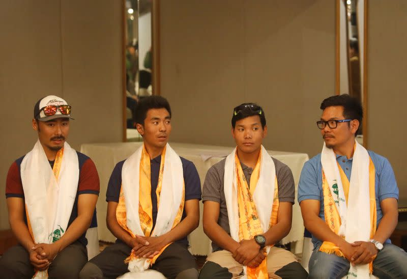 Halung Dorchi Sherpa, Pasang Nurbu Sherpa, Ming Temba Sherpa and Tashi Lakpa Sherpa attend a news conference organised before heading to attempt the record for the winter Everest expedition in 5 days, in Kathmandu