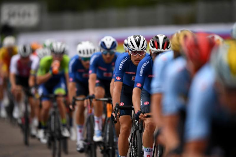 Italian team in the closing kilometres at the Worlds