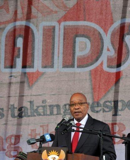 This government handout picture shows South African President Jacob Zuma addressing the 23rd commemoration of World Aids Day at the Wolfson Stadium in Port Elizabeth, South Africa, December 2011. South Africa, home to the highest number of HIV cases in the world, should see a massive reduction by the end of the decade after a sea-change in government policy, a UNAIDS official said Thursday