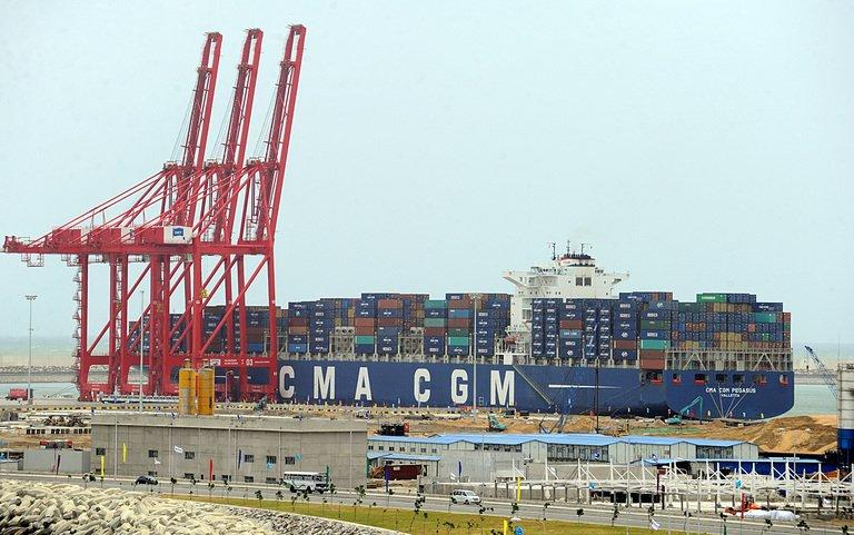 The first ship calls at the Chinese-built Colombo International Container Terminal on August 5, 2013