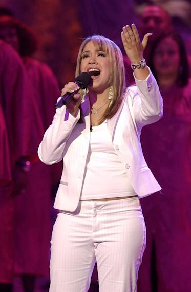 "Diana Degarmo performs at the season 3 ""American Idol"" finale."