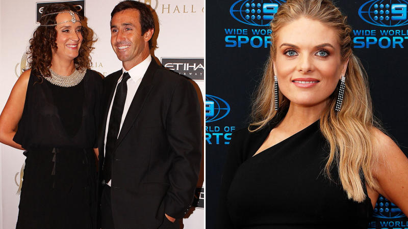 Cathrine Mahoney and Andrew Johns, pictured here in 2012, and Erin Molan in 2018.