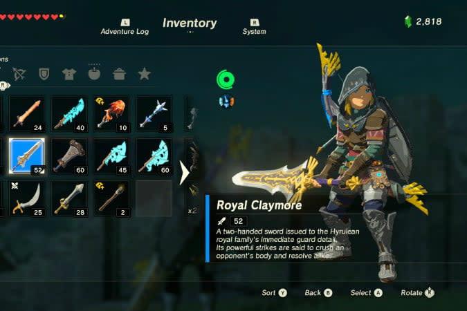 the legend of zelda breath wild best weapons claym