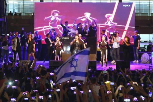 Israel's Netta Barzilai performs on stage a festive welcome concert in the Israeli coastal city of Tel Aviv on May 14, 2018 after winning the Eurovision Song Contest in Lisbon