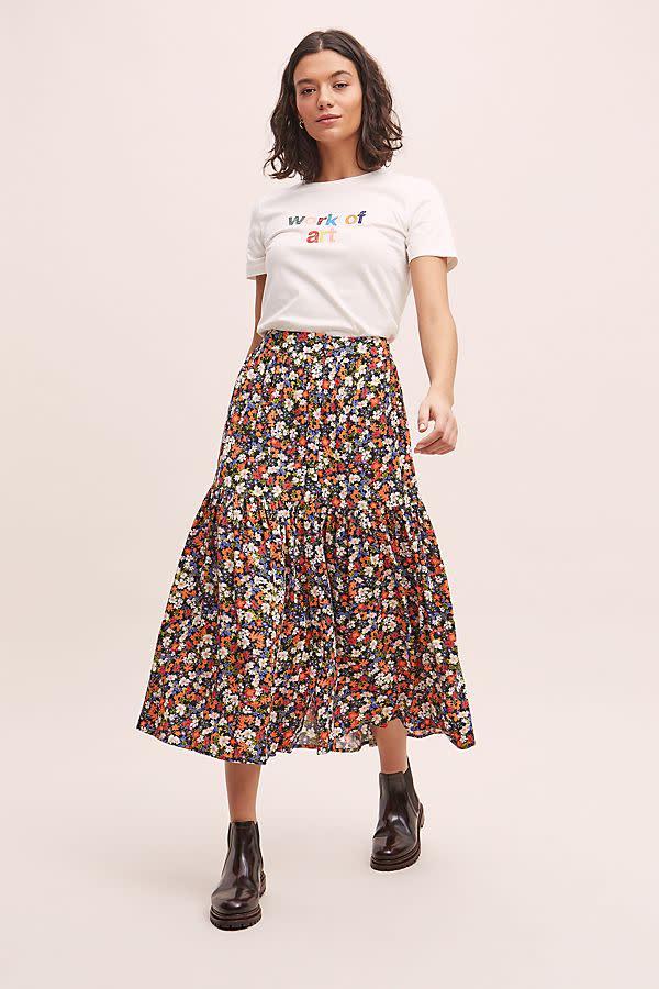 Kachel Marjani Floral-Print Midi Skirt