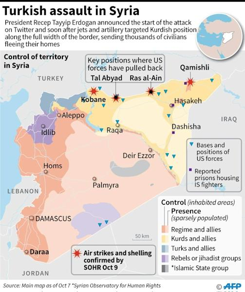 Map showing confirmed air strikes and shelling in Syria after Turkey announced an assault, plus territorial control of the country