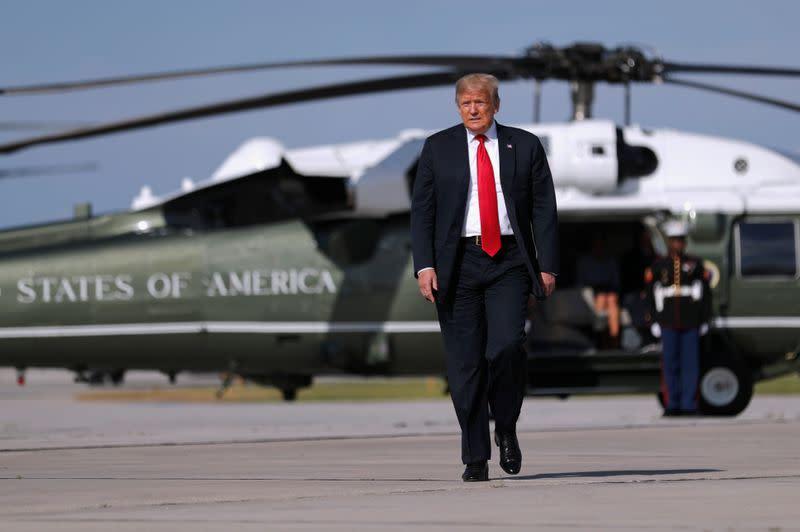 U.S. President Trump departs Green Bay Austin Straubel International Airport in Green Bay, Wisconsin