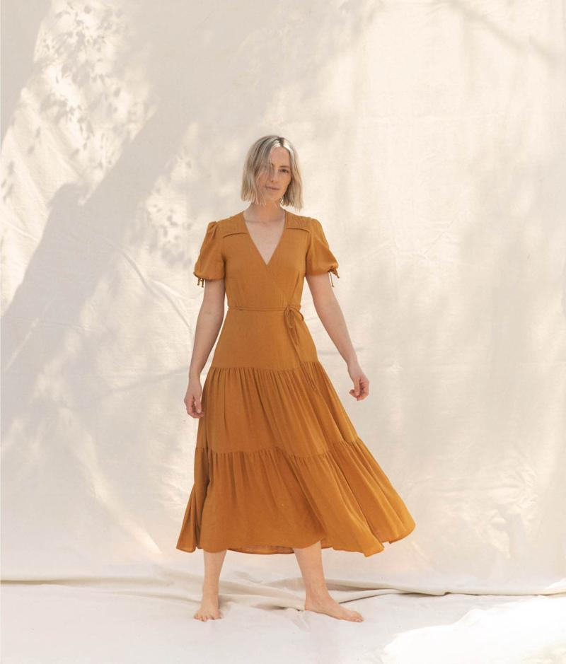 The Augusta Dress In Turmeric. Image via Christy Dawn.