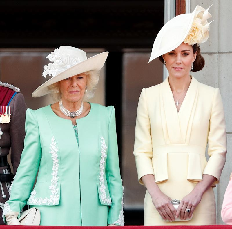 LONDON, UNITED KINGDOM - JUNE 08: (EMBARGOED FOR PUBLICATION IN UK NEWSPAPERS UNTIL 24 HOURS AFTER CREATE DATE AND TIME) Camilla, Duchess of Cornwall and Catherine, Duchess of Cambridge watch a flypast from the balcony of Buckingham Palace during Trooping The Colour, the Queen's annual birthday parade, on June 8, 2019 in London, England. The annual ceremony involving over 1400 guardsmen and cavalry, is believed to have first been performed during the reign of King Charles II. The parade marks the official birthday of the Sovereign, although the Queen's actual birthday is on April 21st. (Photo by Max Mumby/Indigo/Getty Images)