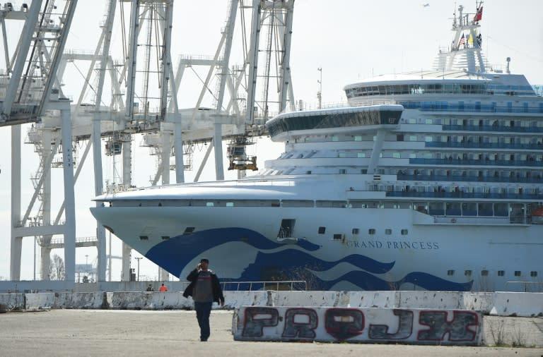 The Grand Princess docked at Oakland in the San Francisco Bay after days stranded at sea