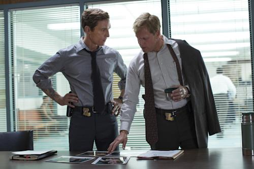 "This image released by HBO shows Matthew McConaughey, left, and Woody Harrelson from the HBO series ""True Detective,"" premiering Jan. 12, at 9 p.m. EST. (AP Photo/HBO, Michele K. Short)"