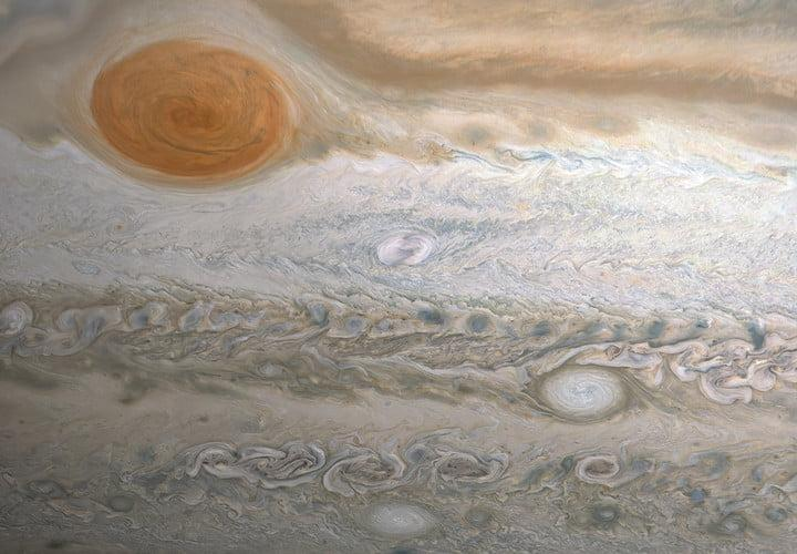 This image from NASA's Juno spacecraft captures several storms in Jupiter's southern hemisphere