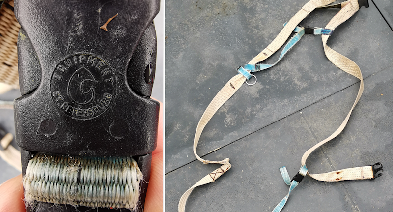 'Equipment St Petersburg' is inscribed on a plastic buckle, a long harness lies on the ground.