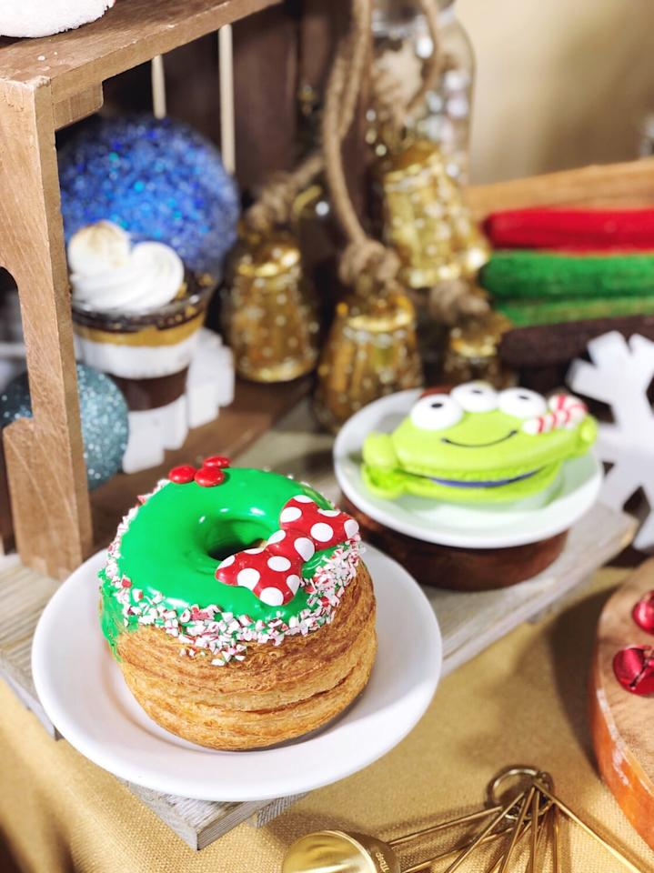 "<p>This giant <a rel=""nofollow"" href=""https://www.popsugar.com/latest/Cronuts"">cronut</a> is filled with chocolate peppermint ganache and can be found at Schmoozies! in California Adventure.</p>"
