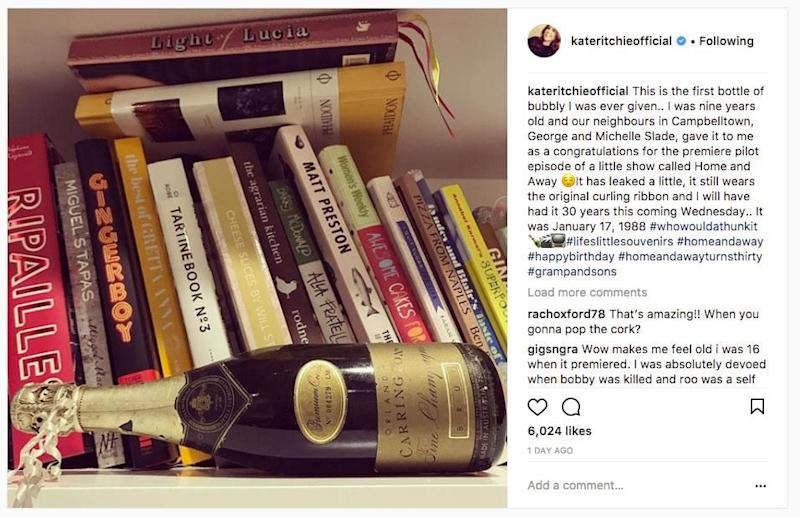 The actress, who played fan favourite Sally Fletcher on the popular Channel Seven soap, also shared a photo of a gift she received from some neighbours after she landed her big acting gig. Source: Instagram/kateritchieofficial