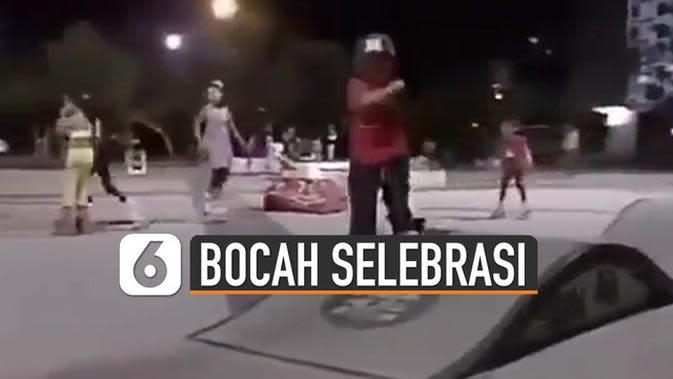 VIDEO: Kocak, Aksi Bocah Selebrasi Setelah Main Skateboard Akhirnya Terjatuh