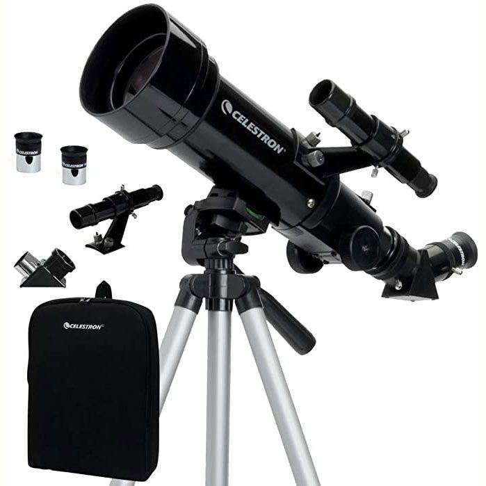 """<p><strong>Celestron</strong></p><p>amazon.com</p><p><strong>$89.00</strong></p><p><a href=""""https://www.amazon.com/dp/B001TI9Y2M?tag=syn-yahoo-20&ascsubtag=%5Bartid%7C10055.g.33608427%5Bsrc%7Cyahoo-us"""" target=""""_blank"""">Shop Now</a></p><p>For under $100, this refractor telescope from Celestron has over <strong>3,000 rave Amazon reviews</strong> for being easy to set up and use, capturing clear images of the Moon and wildlife on Earth. It has a 70mm aperture and comes with two eye pieces (20mm and 10mm) to see celestial objects more clearly. A tripod and carrying bag are also included for easy toting on adventures.</p>"""