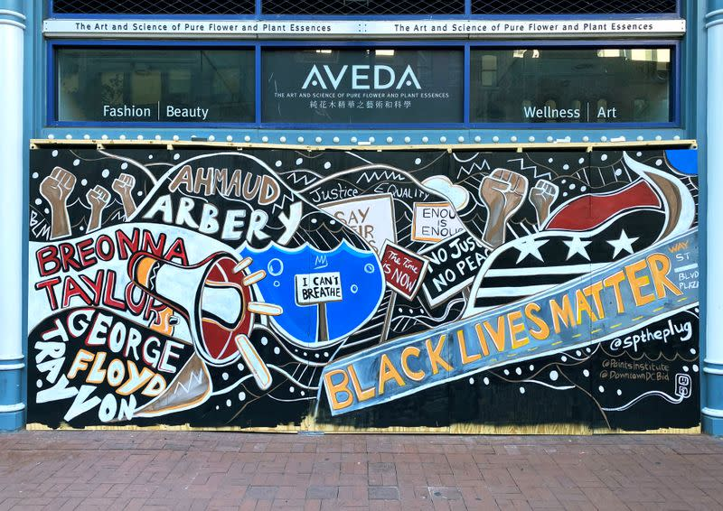 Protest murals in downtown Washington, DC