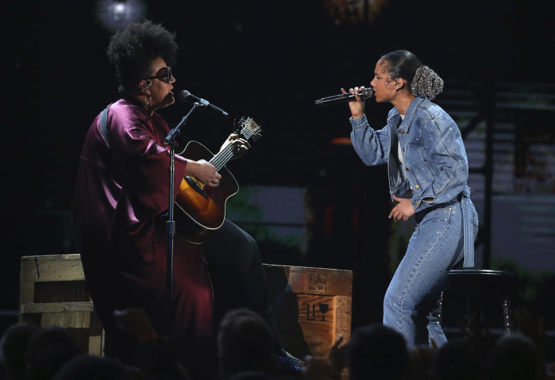 Brittany Howard, left, and Alicia Keys perform at the 62nd annual Grammy Awards on Sunday, Jan. 26, 2020, in Los Angeles. (Photo by Matt Sayles/Invision/AP)