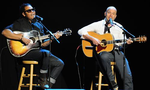 Amaury Gutierrez, left, and Gian Marco perform at the 13th Annual Latin Grammy Awards at Mandalay Bay on Thursday, Nov. 15, 2012, in Las Vegas. (Photo by Al Powers/Powers Imagery/Invision/AP)