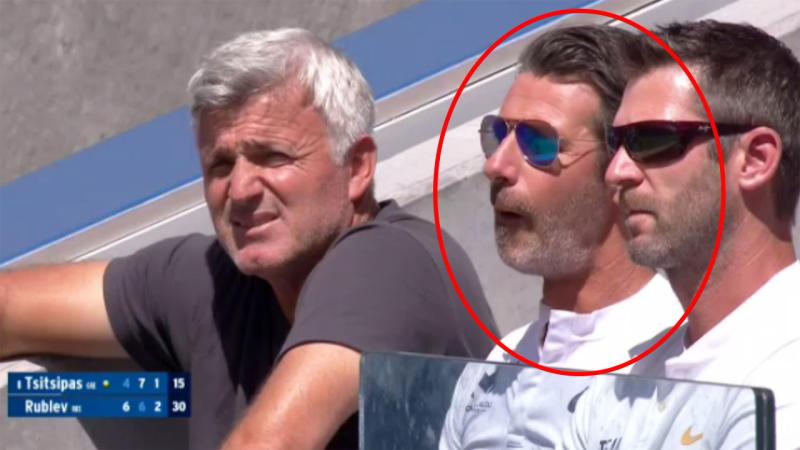 Patrick Mouratoglou was in Stefanos Tsitsipas box. Image ESPNMore