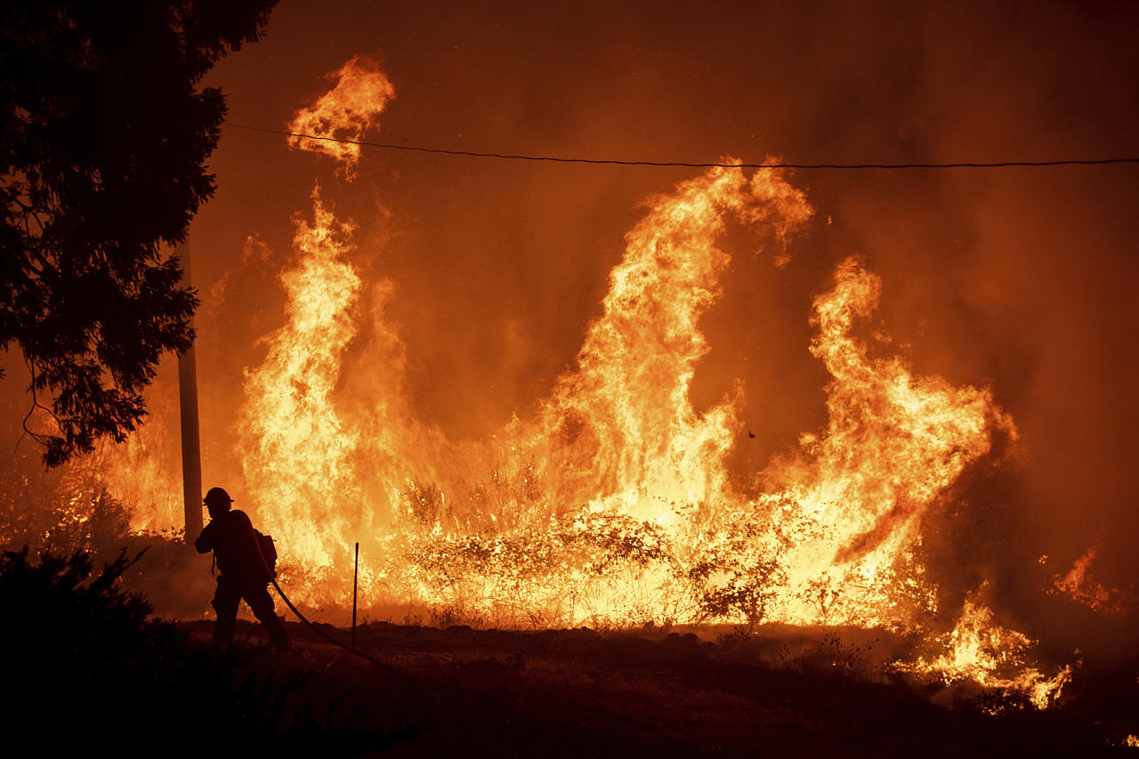 <p>A firefighter passes flames from a backfire while battling the Delta Fire in the Shasta-Trinity National Forest. Image: AP </p>