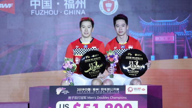 Kevin Sanjaya Sukamuljo/Marcus Fernaldi Gideon menjuarai Fuzhou China Terbuka 2019. (PBSI)