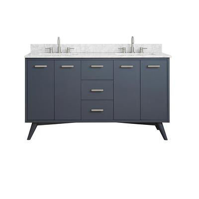 Home Decorators Collection Greenley 61 In W X 22 In D Bath Vanity In Gray Blue With Marble Vanity Top In Carrara White With White Basin Yahoo Shopping